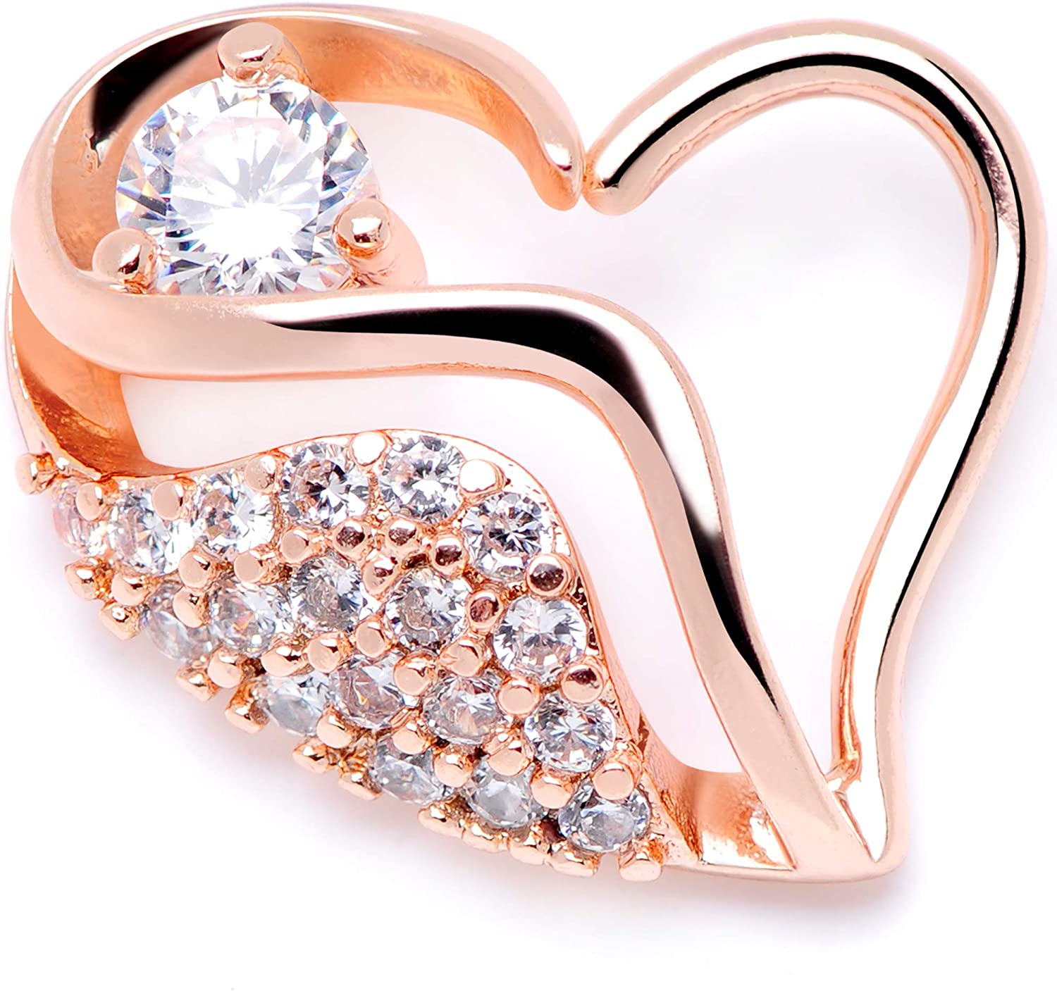 Body Candy Womens 16G Plated Steel Clear Accent Rosy Right Heart Closure Ring Daith Helix Tragus Rook 5/16