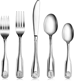 New Star Foodservice 58918 Shell Pattern, Stainless Steel, 60 piece Flatware Set