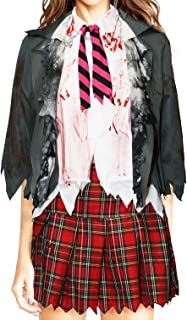 Women Zombie High School Uniform Skirt Costume Set
