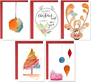 Cartolina di Natale, biglietti fatti a mano, biglietti di vischio di Natale, confezioni di cartoline di Natale, carta acqu...