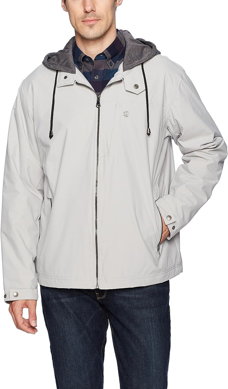 IZOD Men's Oxford Jacket with Jersey Hood and Polar Fleece Lining