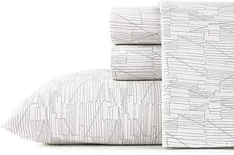 City Scene Tally Cotton Percale Grey Queen Sheet Set, Gray