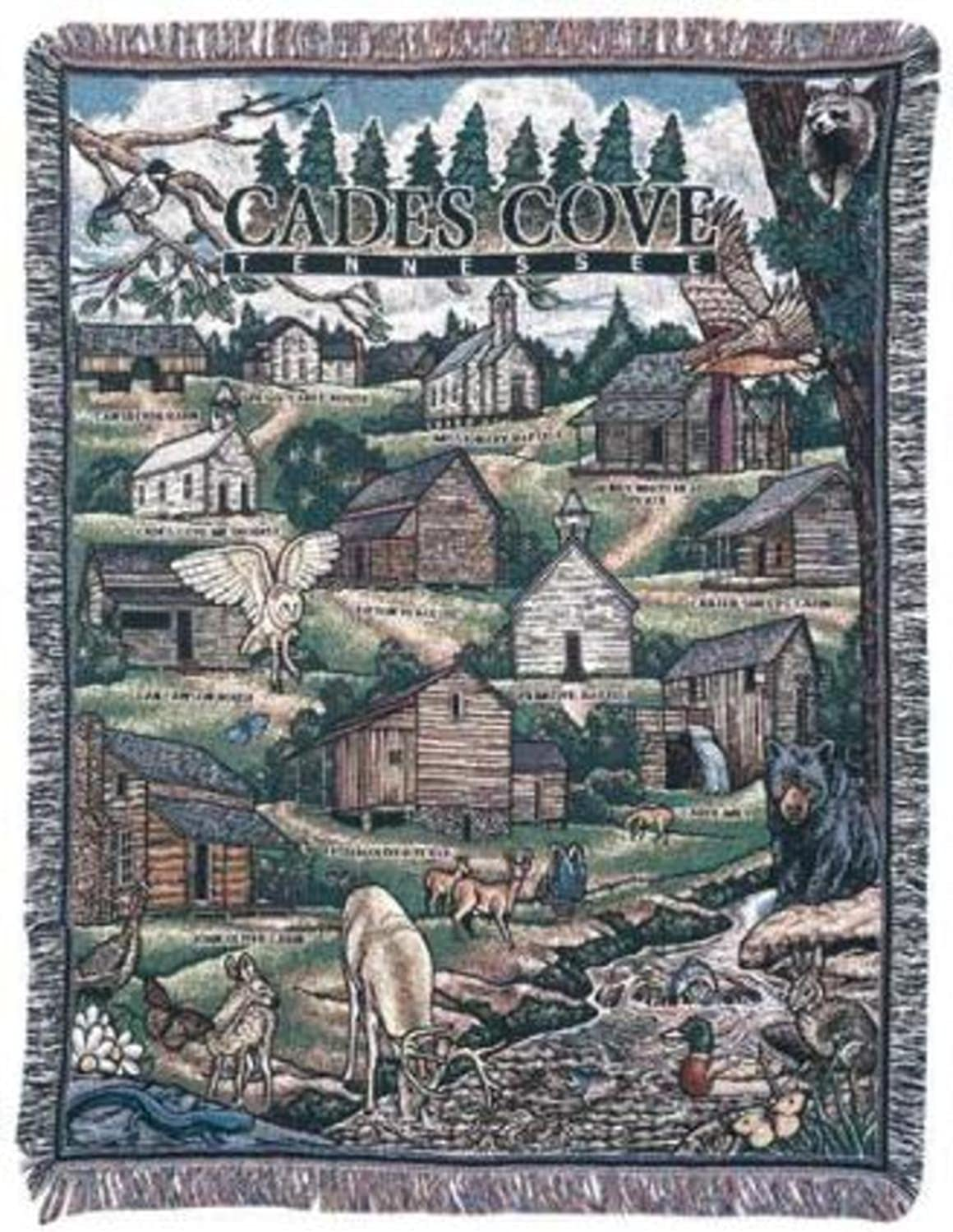 Simply Home Cades Cove Tennessee Tapestry Throw Blanket 50  x 60  USA Made SKU RTP029929