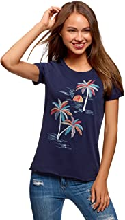 Ultra Women's Raw Hem Embroidered Cotton T-Shirt