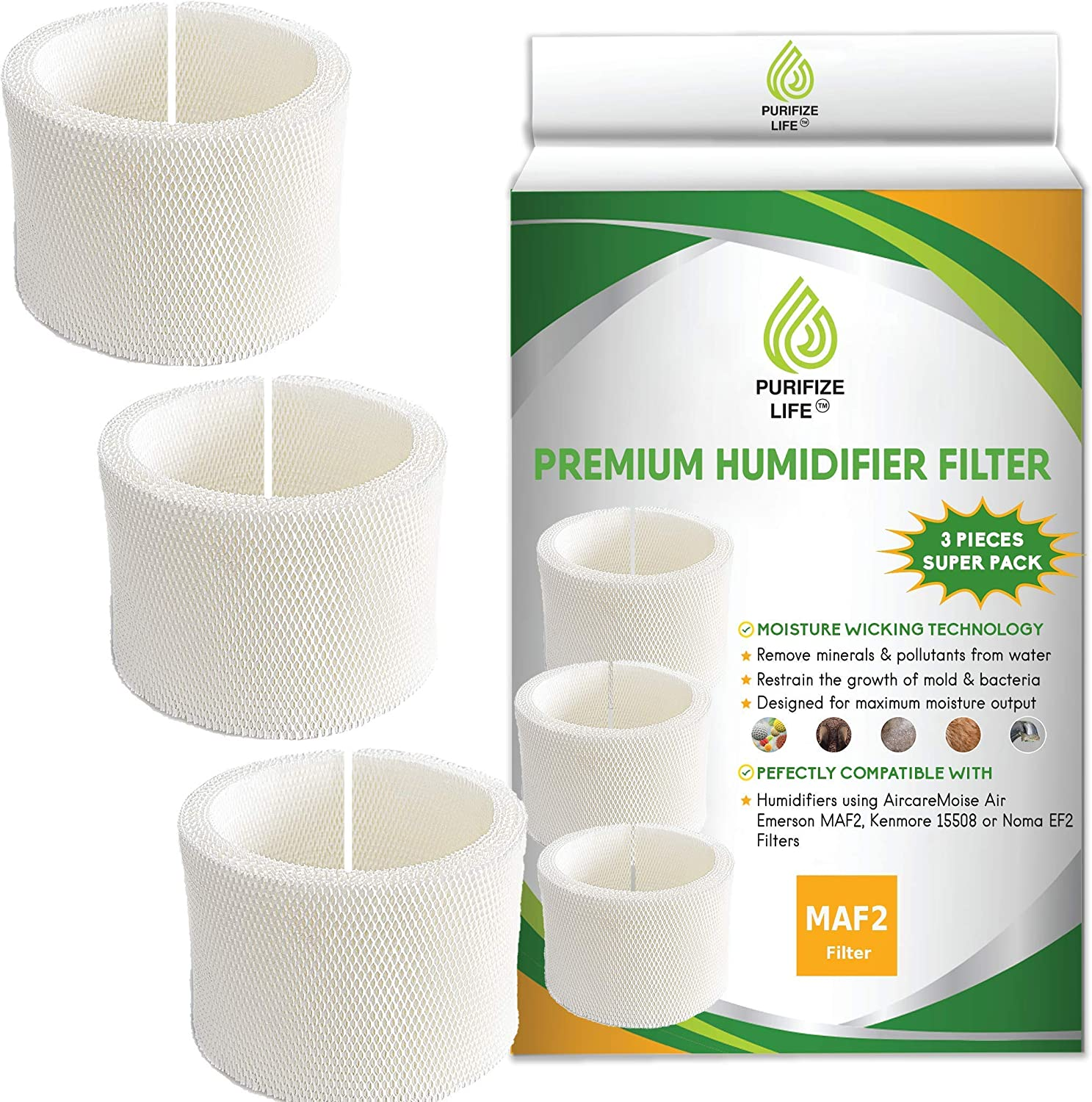 Fashion PURIFIZE LIFE 3 Pack Premium Wick Filter Replacement Direct sale of manufacturer Aircare for