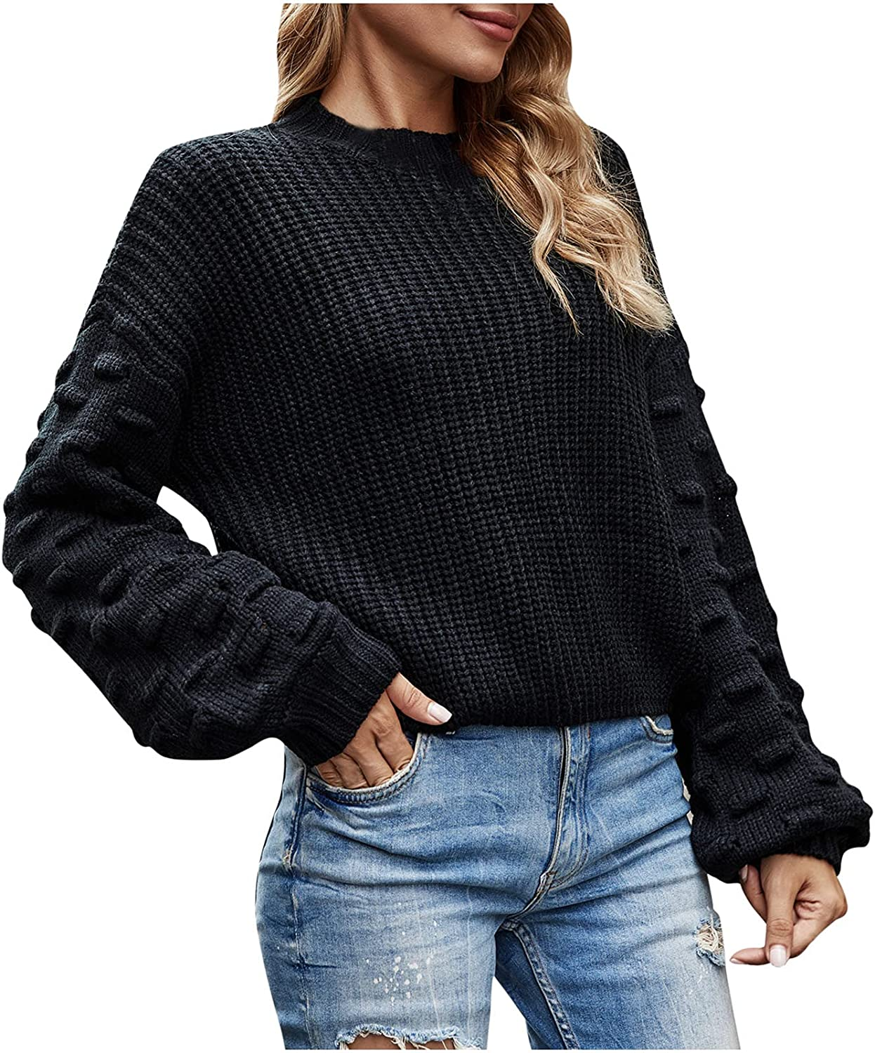 RFNIU White Sweater Womens Fall Fashion Casual Crew Neck Lantern Sleeve Knitted Pullover Shirt Loose Long Sleeve Tops