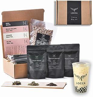 Locca Boba Tea Kit 24+ Bubble Teas   Organic Peach Oolong Tea, Jasmine Tea, Black Tea   Loose Leaf Teas   Vegan & Gluten F...
