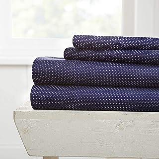 Simply Soft Premium My Heart Pattern 4 Piece Bed Sheet Set, Queen, Navy