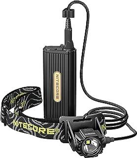 Nitecore HC70 1000 Lumen Lightweight Rechargeable LED Headlamp with External Battery Pack, Black