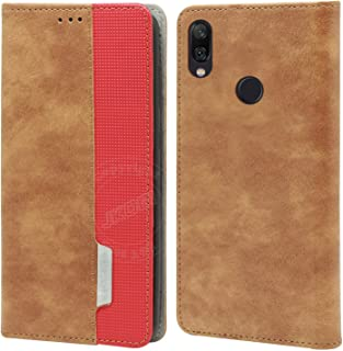 Jkobi Elegant Series Leather-Fiber Flip Case Cover for Redmi Note 7 / Note 7S / Note 7 Pro -Leather Brown