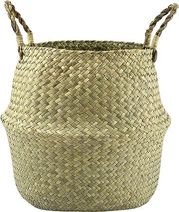 grande Yunhigh cesta de picnic de mimbre con tapa y mango cesta de almacenamiento forrada cesta contenedor de cesta tejido estilo vintage cl/ásico pa/ís