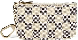 Luxury Zip Checkered Coin Pouch PU Vegan Leather Mini Key Chain Purse Wallet 2 pcs Set