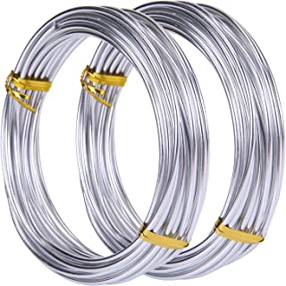 Teemico 33 Feet Copper Aluminum Wire Bendable Metal Craft Wire for Jewelry Making Dolls Skeleton DIY Crafts (Silver, 3 mm Thickness)