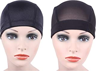 Black Dome Cap for Making Wigs Stretchable Hairnets with Wide Elastic Band 2 pcs/lot(Dome Cap 2pcs S)