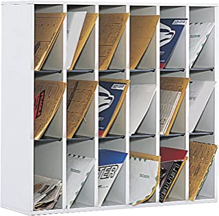 Safco Products 7765GR Wood Mail Sorter, 18 Compartment, Gray