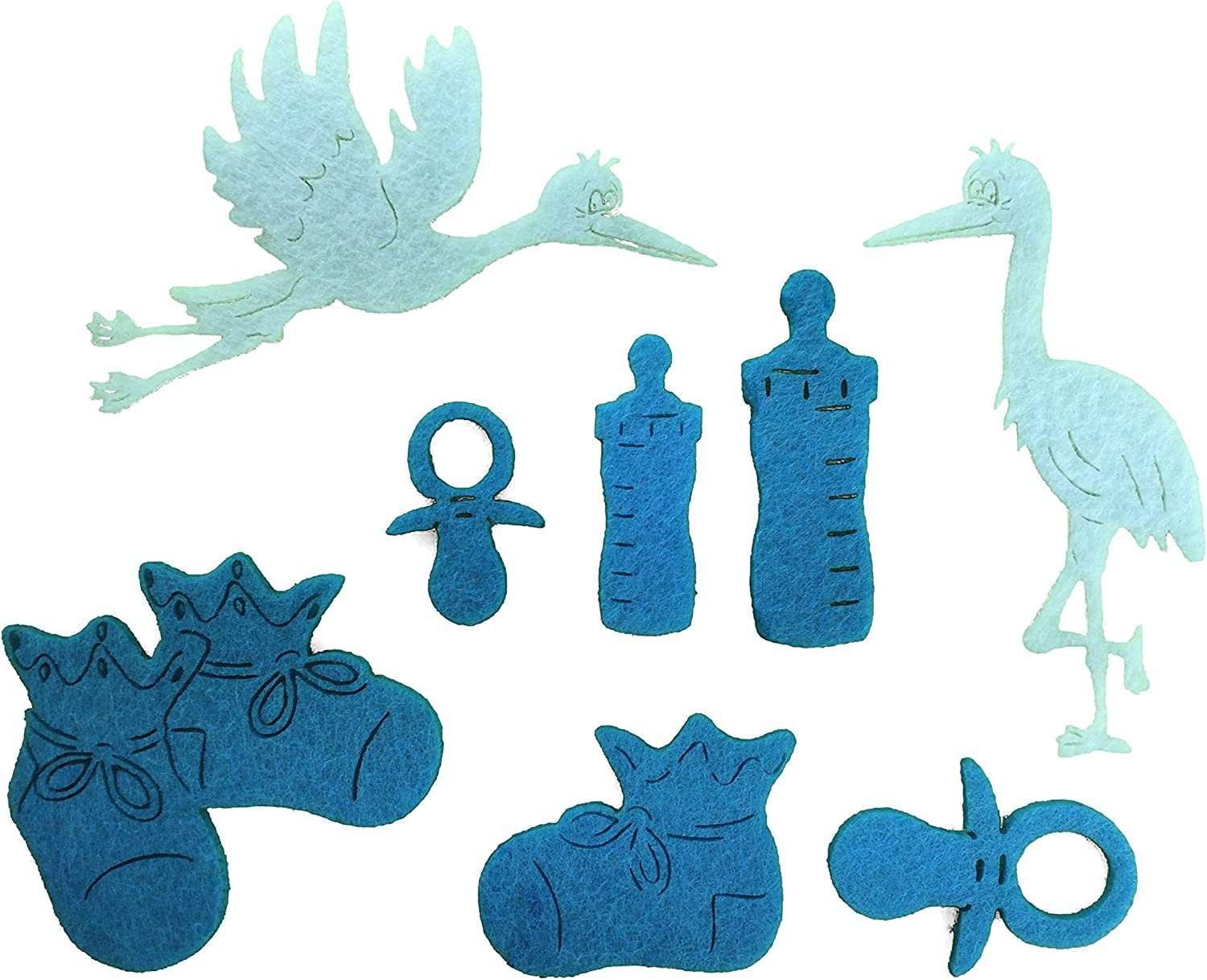 Petra's Craft News A Baby BYF8 CF47 Felt Set  62 Piece Set Consists of 60 Light bluee Felt Shapes and 2 Storks in White
