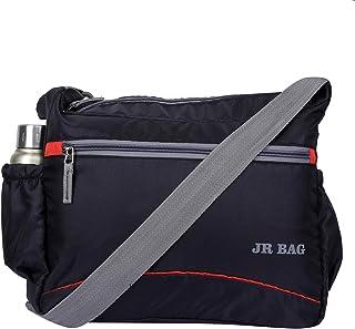 JR Bags Men's and Women's Polyester Crossbody Sling Bag (Black)