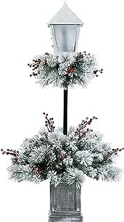 LordofXMAS Flocked Christmas Tree Prelit 4 ft. PVC Needles Pine with UL-Listed Warm White LED Lights Berry Clusters Plasti...