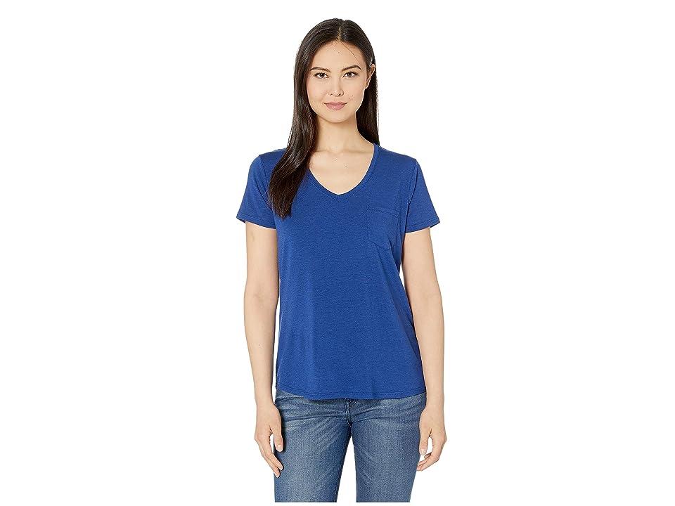 Prana Foundation Short Sleeve V-Neck Top (Sapphire Heather) Women