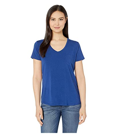 Prana Foundation Short Sleeve V-Neck Top (Sapphire Heather) Women