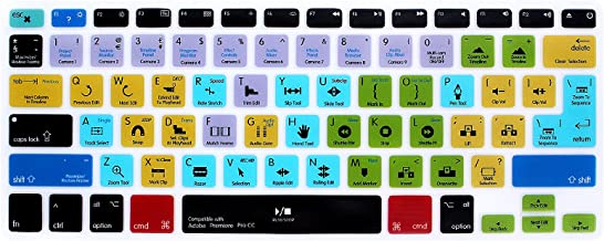 HRH Adobe Premiere Pro CC Shortcuts Hotkey Silicone Keyboard Cover Skin for MacBook Air 13,MacBook Pro13/15/17 (with or w/Out Retina Display, 2015 or Older Version)&Older iMac,USA and European