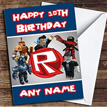 Roblox Birthday Card Roblox Logo Personalised Birthday Card Amazon Co Uk Office Products