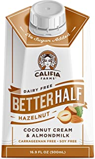 Califia Farms - Hazelnut Better Half Coffee Creamer, 16.9 Oz (Pack of 6) | Half and Half | Coconut Cream and Almond Milk |...