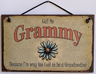 Egbert's Treasures 5x8 Vintage Style Sign with Daisy Saying, Call Me Grammy Because I'm Way Too Cool to be a Grandmother Signs from