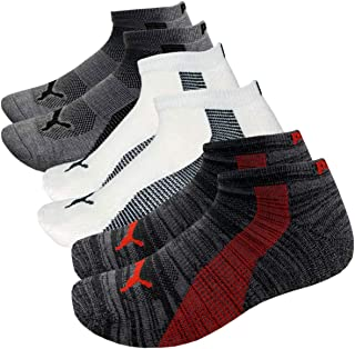 Puma 6-Pack Low Cut Mens Socks Stay-Up Cuff and Heel Cushioned Arch Support