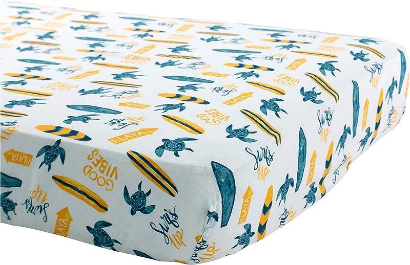 Bebe Au Lait Oh So Soft Muslin Crib Sheet Surf