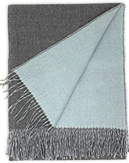 100% Baby Alpaca Wool Sofa Throw Blanket - Two Sided, Hypoallergenic & Dye Free - Perfect for Snuggling (Graystone/Pail Blue)