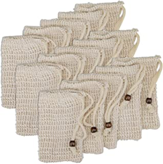 Yarlung 15 Pack Sisal Soap Bag for Scraps and Save Soaps, Natural Sisal Soap Saver with Drawstring for Foaming and Drying ...