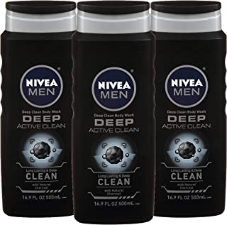 NIVEA Men DEEP Active Clean Body Wash – 8-hour Fresh Scent with Natural Charcoal..