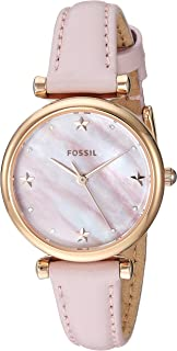Women's Mini Carlie Stainless Steel Quartz Watch with Leather Strap, Pink, 22 (Model: ES4525)