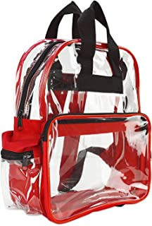 ProEquip Travel Bag Clear Unisex Transparent School Security Backpack (Red)