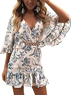 ECOWISH Women's Dresses Floral Print V Neck Batwing Ruffle Hem Short Sleeve Hollow Out Boho Mini Dress