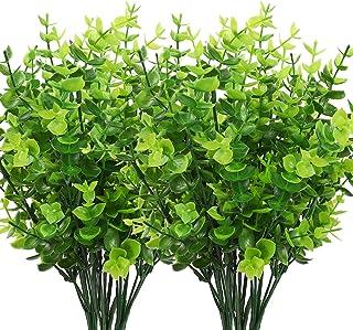 CEWOR 8pcs Artificial Greenery Plants Fake Plastic Boxwood Shrubs Stems for Home Wedding..