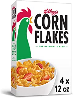 Corn Flakes Breakfast Cereal, Original, Fat Free, 12oz Box(Pack Of 4), 48 Ounce