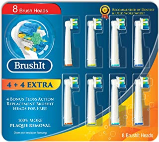 MelMel Replacement Brush Heads Refill Compatible With Oral B Braun Electric Toothbrush, Pro 1000 Pro 1500 Pro3000 Pro6000 Pro7000, Genius 8000, 8 Pack of 4 Floss Action + 4 EXTRA Floss Action For Free