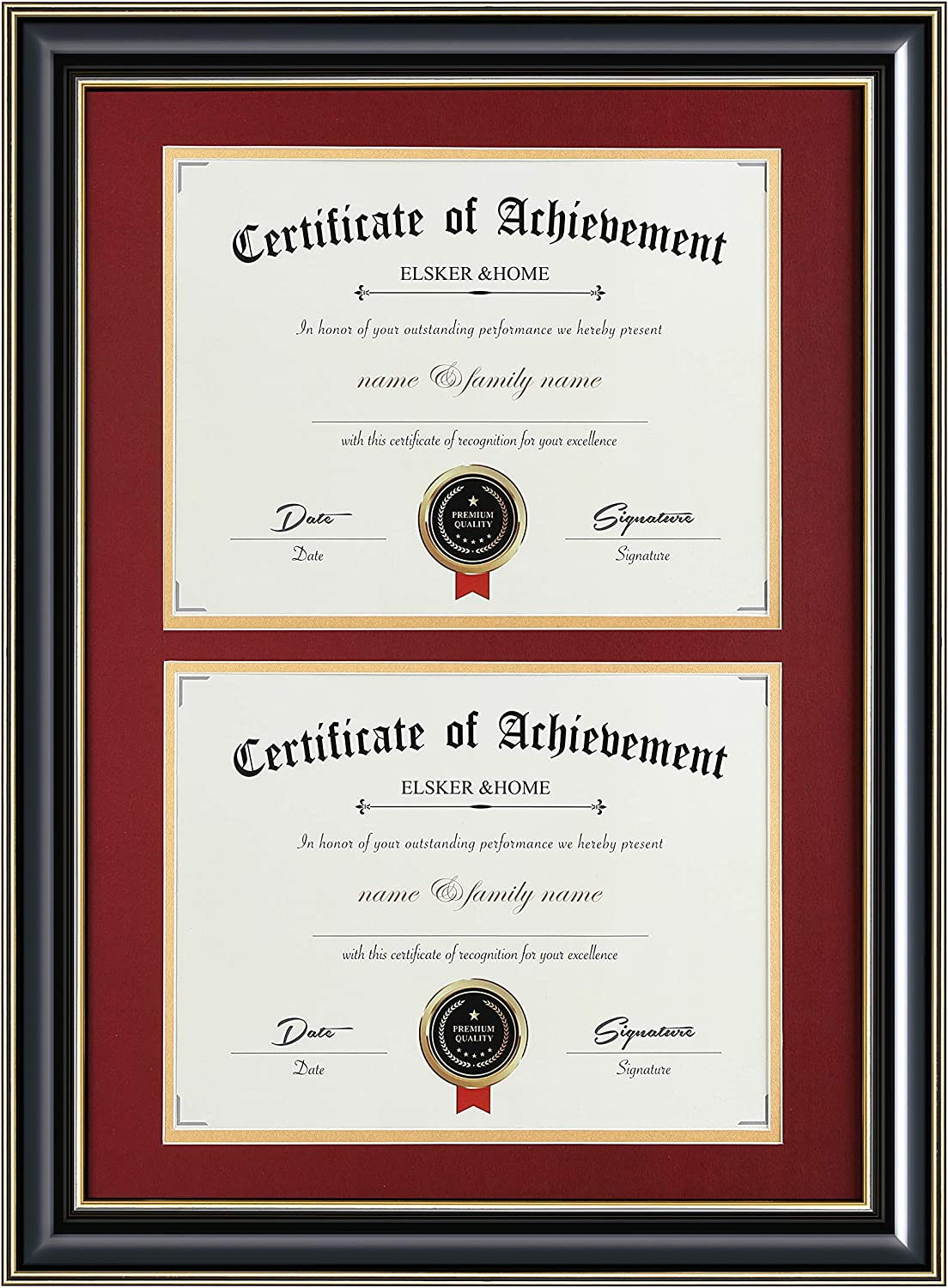ELSKERHOME Double Document Photo Dedication Frame-Made 5% OFF for Certificat Wood