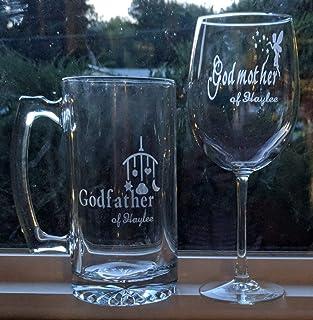 1a03fe2eb4d Etched Personalized Godmother Godfather Wine Glass Beer Mug Set |  Christening Gift | Gift Set