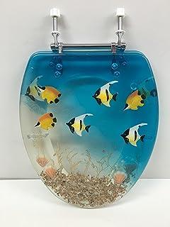 ELONGATED BLUE AQUARIUM FISH RESIN TOILET SEAT, CHROME HINGES