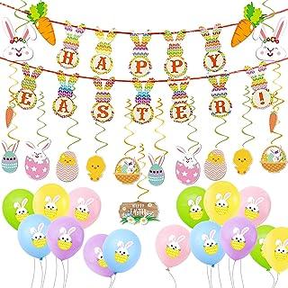 Zsroot Kit de décoration pour Pâques - Lapin de Pâques - Bannière - Ballons - Décoration à Suspendre pour Pâques - Ministè...
