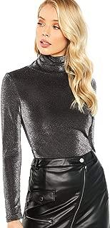 Floerns Women's Basic Slim Long Sleeve Turtleneck Glitter Tee Blouse Tops