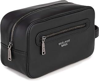 Berliner Bags Premium Kulturbeutel Max aus Leder Kulturtasche Kosmetiktasche Herren Damen Schwarz