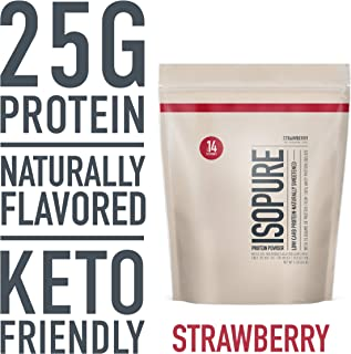 Isopure Naturally Flavored, Keto Friendly Protein Powder, 100% Whey Protein Isolate, Flavor: Natural Strawberry, 1 Pound