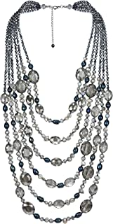 Midnight Paradise Cultured Freshwater Pearl and Fashion Crystal Multi Strand Necklace