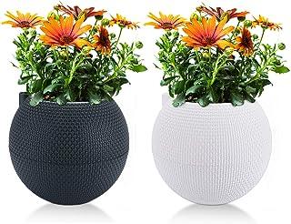 T4U 7 Inch Plastic Self Watering Planter Pots - White & Grey, Set of 2, Spherical Plant Pot Long-Term Water Storage Flower Pot Stylish Decorative Garden Pot for House Plants, Herbs, African Violets