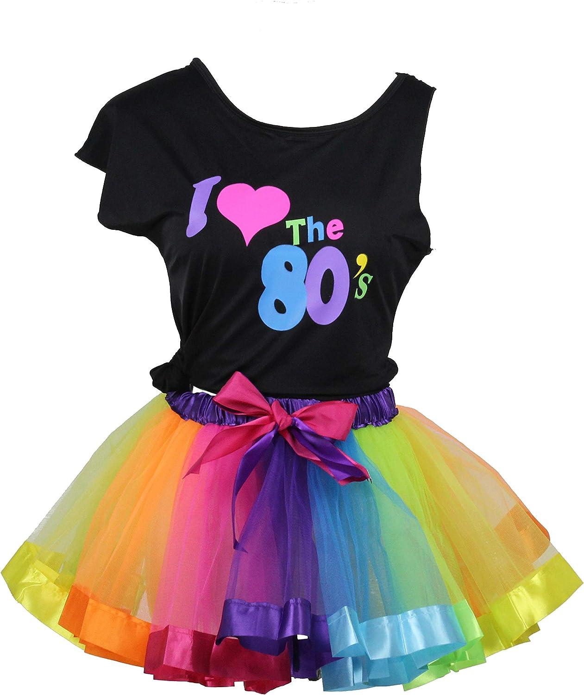 I Love 80s Rainbow Tutu Skirt Child Girls Costume Accessories Set