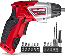 ULTRA STEEL 4V Lithium-Ion Cordless Rechargeable Dual-Position Screwdriver, 6+1 Torque Settings, LED Light w/ 1-Year Warranty, 2pc Drill Bit, 10pcs Driver Bits (AQ70031J)